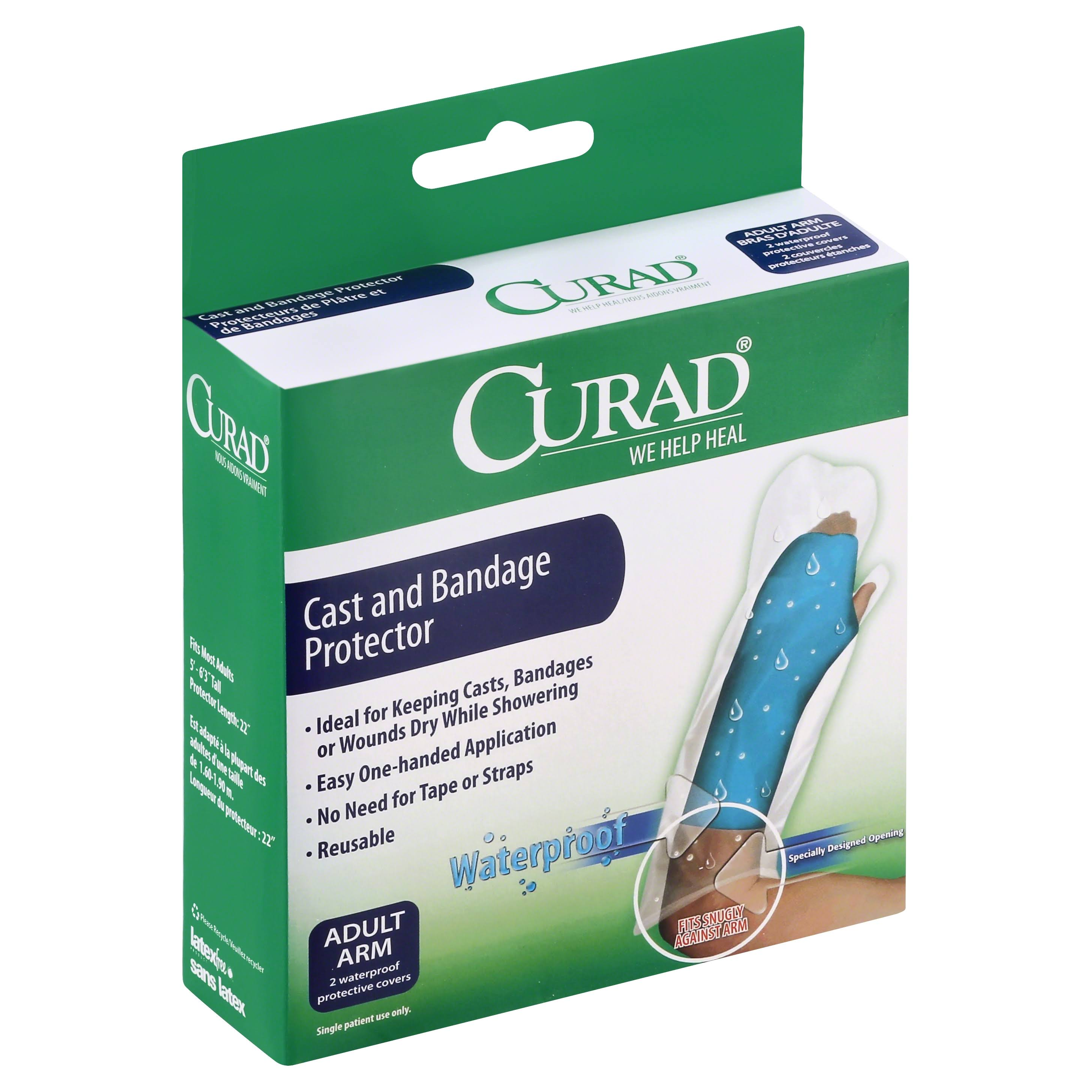 Curad Cast And Bandage Protector - Adult Arm, 2 Waterproof Protective Covers