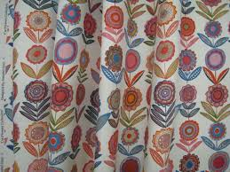 Material For Curtains And Blinds by Flowers Bl White 68cms Medium Bright Fabric For Curtains And Blinds