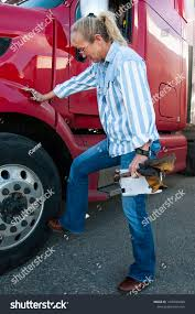 100 Female Truck Driver Does Her Thorough RoyaltyFree Stock Image