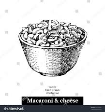 Hand drawn sketch homemade macaroni and cheese in a bowl Vector black and white vintage