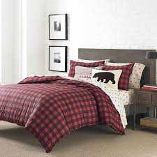 Black Red Plaid Duvet Cover Twin Set Cabin Themed Bedding Checked