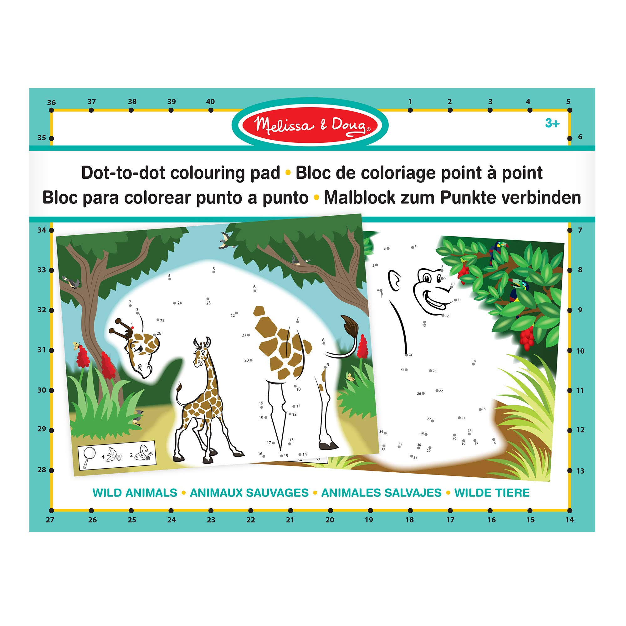 Melissa Doug ABC 123 Dot-to-Dot Colouring Pad Wild Animals