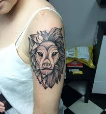 Geometric Lion Tattoo On Sleeves
