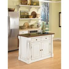 BELLEZE Wood Top MultiStorage Cabinet Rolling Kitchen Island Table Cart With Wheels Black