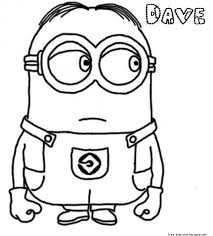 Print Out Dave The Minion Despicable Me 2 Coloring PagesFree