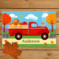 Fall Truck Personalized Kids Placemat - Art Appeel