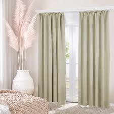 deconovo gardinen beige vorhänge mit kräuselband für schiene verdunkelungsvorhang blickdicht thermovorhang wohnzimmer schlafzimmer 175x140 cm beige