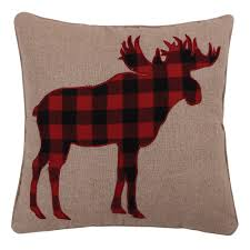 Lodge Red Plaid Moose Throw Pillow