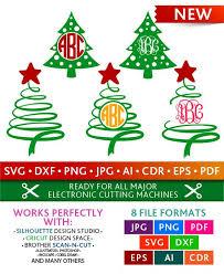 Christmas Tree Svg Swirly Monogram Frames