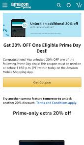 The Amazon App Has An Easy Way To Save An Extra 20% This Prime Day ... Instagenius Coupon Discount Code 20 Off Promo Deal Codes Amazon Coupons Offers Upto 80 On Best Products Aug 2019 For Codes Android Apk Download Azon Video Maker Canada Coupon March 2018 Cheryls Cookies Code Free Sole Society Off Tbdress Shipping Cup Of Tea Converse In Store Ulta Everything April 10 Amazon Dicks Sporting Goods Discounts 19 Ways To Use Deals Drive Revenue Any Item Unreal Officemax Blog