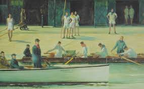 Detail From Cosmo Clarks Painting For London Rowing Clubs Centenary In 1956 Jock Wise Is Sitting The Launch Wearing A LRC Cap
