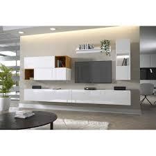 nola 19 wohnwand tv schrank braun weiß schwarz hochglanz 300 cm