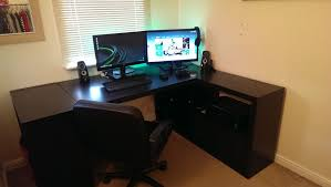Linnmon Corner Desk Hack by Expedit Desk Setup Ikea Hackers