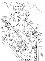 Cinderella Down The Stairs With Prince Charming Coloring Pages For Kids Printable