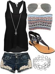 Lace Denim Shorts Black Tank Tribal Print Bustier Cute Summer OutfitsSummer