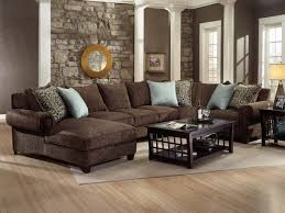 impressive living room decorating ideas with dark brown sofa with