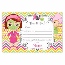 Party Spa Birthday Card Thank You Pink Orange Chevron Cute Little