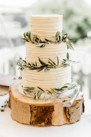 Rustic Wedding Cake With Olive Leaves For Vineyard By White Rose Design Cakes In West Yorkshire