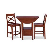 Light Brown 3 Piece Storage Pub Table Bistro Dining Set Home Kitchen ...