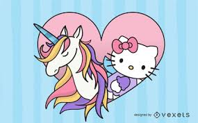 Kitty With Pink Unicorn Vector