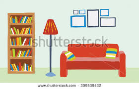 Interior Living Room In Cartoon Style Sofa Bookcase And Lot Picture Frame On The