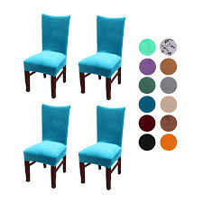 Velvet Spandex Stretch Dining Room Chair Cover, Removable Chair Slipcovers  Set Of 4pcs(peacock Blue) Stretch Ding Room Chair Covers Soft Spandex Short Protector Removable Slipcover Set Of 2 Aqua Blue Menswear Slipcovers By Shelley Ihambing Ang Pinakabagong Colorful Prting Elastic High Back Room Ideas Great Bay Home 4pack Velvet Plush Printed Cover Kitchen Seat Slip Red Grey Navy Beige Set 4 6 Pool Excellent Astonishing Amusing Chairs Fabric Ideas Accent Covered Diy Light Elegant Polyester And Washable Sure Fit Pinstriped Products