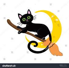 Cute Black Cat Flying Broom Stock Vector Shutterstock