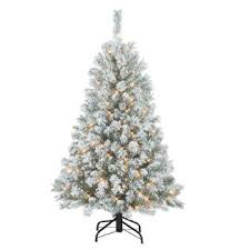 DONNER BLITZEN 45 Alberta Flocked Spruce Pre Lit Christmas Tree With 200 Clear