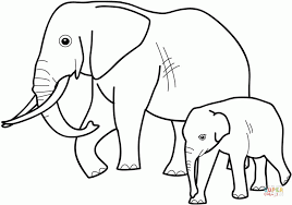 Click The Baby Elephant With Mother Coloring Pages To View Printable