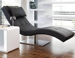 designer liege chaise longue aus kunstleder schwarz mit vernickeltem gestell siara relax liege zum entspannen aus hochwertigem kunstleder schwarz