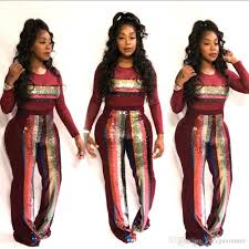 2019 Hot Sequins Stripes Cotton Women Party Jumpsuits Suits Long Sleeves Crew Neck Straight Leg Pants Outfits For Night Out From Veryguarantee