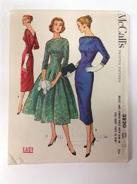 3820 M Pattern 50s Dress With Slim Or Full Skirt Sz 16 B36 UNCUT Easy To