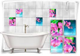 badezimmer fliesen aufkleber orchideen blumen wellness spa