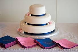 White Navy Blue Pink Wedding Cake
