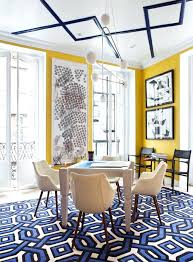 Yellow Dining Room Blue And With Geometric Shapes In The Rug Ceiling Artworks