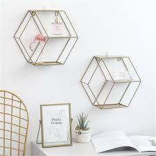 europäisch wandregal wanddekoration für schlaf wohnzimmer eisen hexagon regal