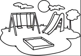 School Playground Clipart Black And White