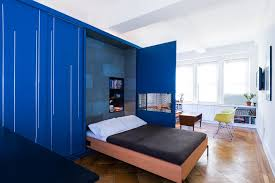 The Interior Of Unfolding Apartment In Manhattan New York Has A Blue Convenient Self