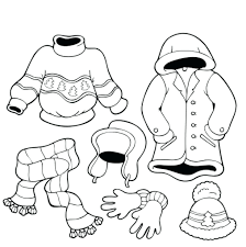 Winter Coloring Pictures Kindergarten Animals Pages Free Clothes For Children Adults