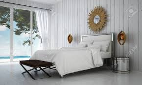 die luxusvilla weiße schlafzimmer innenarchitektur und holz wand hintergrund und meerblick 3d rendering neue szene innenarchitektur