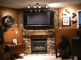 Living Room With Fireplace In Corner by Wall Mount Tv In Stylish Living Room On Design Ideas Furniture