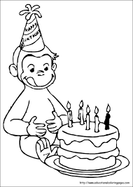 Happy Birthday Curious George Coloring Pages Printable