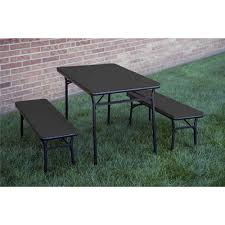 Cosco Folding Chairs And Table by Cosco 3 Piece Indoor Outdoor Table And 2 Bench Tailgate Set