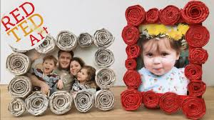 DIY Newspaper Roll Frames Gift For Fathers Day Or Mothers