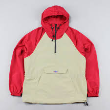 penfield mens pullover two tone jacket windbreaker red cream 68 25