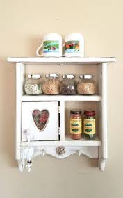 Vintage Shelf Decor Bookshelf Ideas Farmhouse Shabby Chic Cottage Wood Spice Rack Display Case