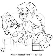 Cartoon Black And White Girl Opening A Doll And Christmas Birthday Gifts Preview Clipart