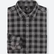 men flannel checked long sleeve shirt uniqlo us