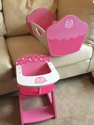 SOLD Doll High Chair & Crib Wooden - Pink & White By Cup Cake | In Newton  Mearns, Glasgow | Gumtree Doll High Chair Executive Gray The Aldi Wooden Toys Are Back Today And The Range Is Set Of Dolls Pink White Wooden Rocking Cradle Cot Bed Matching Feeding Toy Fniture For Babies Toddlers With Harness Removable Tray Adjustable Legs Sold Crib By Cup Cake In Newton Mearns Glasgow Gumtree Olivias Nursery Centre 12 Best Highchairs Ipdent Details About World Baby Play Td0098ap Tiny Harlow Ratten Highchair Real Wood Toys 18 Inch Table Chairs Set Floral Fits American Girl Kidkraft Tiffany Bow Lil 611 Hayneedle