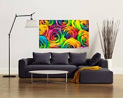 glasbild motiv bunte wohnzimmer modern querformat